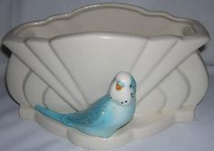 Sylvac Pottery Vase with Blue Budgerigar Number 546