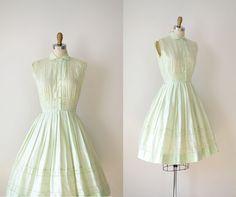 1950s Sundress / 50s  Shirtwaist Dress / Mint Green Eyelet. $98.00, via Etsy.