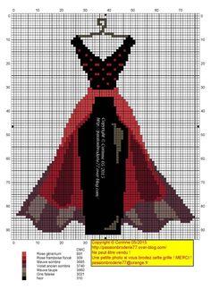 Dress pattern / chart for cross stitch, crochet, knitting, knotting, beading… Tiny Cross Stitch, Cross Stitch Charts, Modern Cross Stitch Patterns, Needlepoint Patterns, Embroidery Patterns, Cross Stitching, Cross Stitch Embroidery, Pixel Art, Stitches Wow