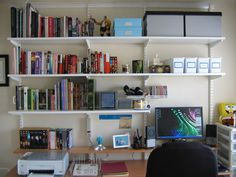 Love the white shelves for a home office
