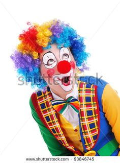 bonjour à tous aiment la belle musique de bande Clown looking to the copy space area in a white studio - stock photo