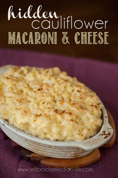 Hidden Cauliflower Macaroni and Cheese is a great way to sneak in a healthy vegetable and mask it with delicious creamy mac 'n' cheesy comfort food. Cheese Recipes, Veggie Recipes, Cooking Recipes, Healthy Recipes, Healthy Eats, Kid Recipes, Cooking Ideas, Eating Healthy, Pasta Recipes