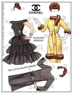Chanel Fashions Paper Doll by PaperDollsbyERMiller on Etsy