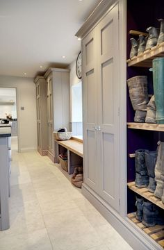bespoke fitted bootroom with grey finish and large cupboards by lewis alderson heaven is just a few steps away.bespoke fitted bootroom with grey finish and large cupboards by lewis alderson are a few tasks Boot Room Utility, Utility Room Storage, Hallway Storage, Boot Room Storage, Mudroom Storage Ideas, Hallway Cupboards, Utility Cupboard, Garage Storage Cabinets, Storage For Boots