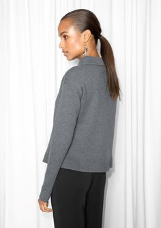 & Other Stories image 3 of Wide Collar Sweater in Dark Grey