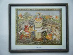 Rare Churning Of Ocean Indian Gods Old Religious Print In Old Wooden Frame #2287
