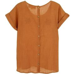 FRENCHTROTTERS FEMME Andreas top - Mustard Crepon ($58) ❤ liked on Polyvore featuring tops, t-shirts, embroidery t shirts, embroidered top, embroidered t shirts, round neck t shirt and cotton summer tops