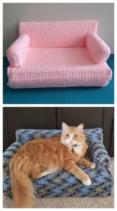 Gato Crochet, Crochet Cat Toys, Knitted Cat, Crochet Home, Crochet Animals, Crochet Baby, Diy Crochet Dog Bed, Finger Crochet, Cat Couch