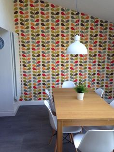 Orla Kiely wallpaper in kitchen