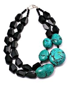 Onyx, turquoise necklace Phyllis Clark Designs. Just here to remember to look at combining my own onyx and turquiose.: