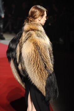 Margiela 3D flat sleeves fur coat