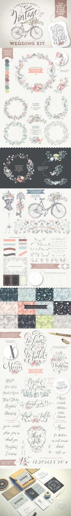 Really Rustic Vintage Wedding Kit by Lisa Glanz | The Comprehensive, Creative Vectors Bundle Mar 2015