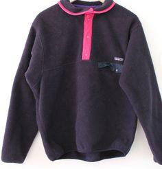 PATAGONIA Fleece Pullover Jacket Navy Pink Trim VINTAGE 90s SNAP Closure SZ M