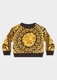Felpa con stampa Barocco Young Versace Bambino   Shop Online Italia 88ab53eb4c7