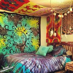 Hippie, bedding, dream catcher, colors, tie dye, feathers, natural colors