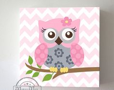 Green and Purple Owl Nursery Girl Room Decor OWL by MuralMAX