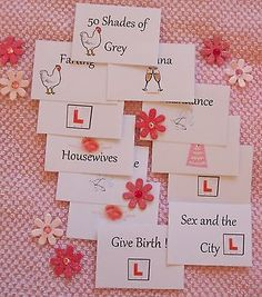 Hen night party game - Hen charades. PRINT THEM YOURSELF ! Party bag fillers.