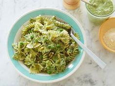 Pasta, Pesto and Peas - this is bomb to make and keep in the fridge!  It's good for days, chilled or warmed up!