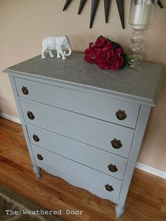 Use Paintable Wallpaper To Cover Ruined Furniture Tops