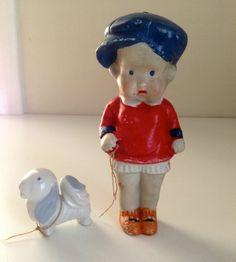 Vintage 6 1/2 tall Bisque Penny Doll Frozen Charlotte Little Boy w/  Dog Japan
