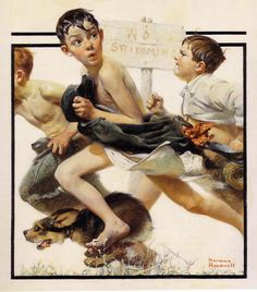 No Swimming, June 4, 1921.  This example shows how well Rockwell had already mastered the demands of the magazine cover format.  Note how cleverly he uses the black box that was then an integral part of the Post's cover layout.  The fact that the boy on the left is vanishing at the edge of this framing device helps to add emphasis to their haste.