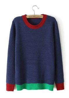 Navy Blue Patchwork Round Neck Loose Cotton Sweater