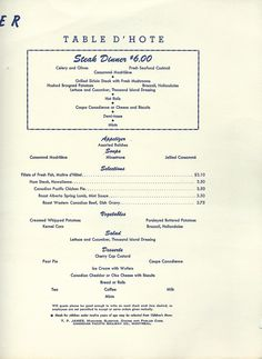 Canadian Pacific Dining Car Service Menu c. Grilled Seafood, Fresh Seafood, Canadian National Railway, Sirloin Steaks, 1960s, Stuffed Mushrooms, Menu, Top Drawer, Dining