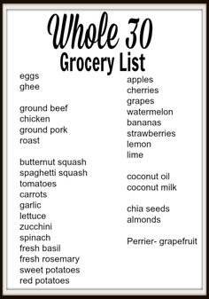 Whole Grocery Shopping and Meal Planning whole 30 grocery list - with menu items and chia seed pudding recipe Whole 30 Menu, Whole 30 Meal Plan, Whole 30 Lunch, Whole 30 Diet, Whole 30 Rules, Whole30 Beef Recipes, Whole30 Plan, Whole 30 Vegetarian, Vegetarian Food