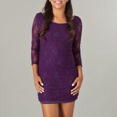 3/4 Sleeve V-Back Lace Mini Dress