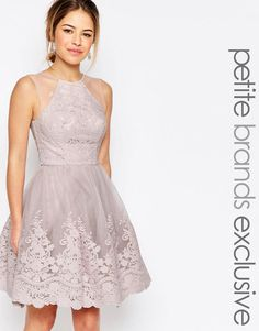 Image 1 of Chi-Chi London Petite Premium Embroidered Lace Tulle Midi Prom Dress With Mesh Shoulder Detail
