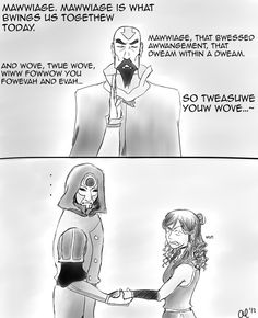 OMG! Amon and Korra marriage ceremony. Also please tell me y'all catch the Princess Bride Reference!
