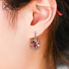 Girls Bow With Hanging Heart Crystal Ear Studs 925 Sterling Silver