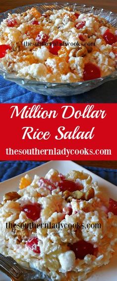 Million dollar rice salad is an old-fashioned recipe that has been around a long time. It is a good salad for pot luck meals, church gatherings and picnics. Potluck Dishes, Fruit Dishes, Rice Dishes, Fruit Salads, Jello Salads, Vegetable Salads, Fruit Tarts, Veggie Food, Rice Salad Recipes