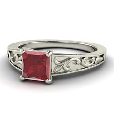 Ruby Rings Princesscut Ruby Ring Ruby Engagement by Diamondere, $976.00