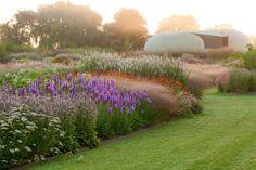 Piet Oudolf garden design at Hauser + Wirth in Somerset Garden Landscape Design, Garden Landscaping, Purple Rain, Prairie Garden, Versailles Garden, Planting Plan, Ornamental Grasses, Plant Design, Garden Planning