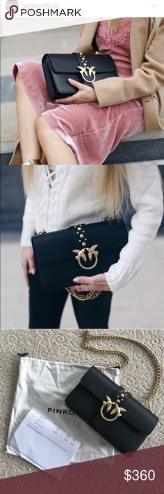 Pinko black leather bag with gold hardware. This amazing black leather bag  you can see all over instagram comes with rich gold hardware and a gold chain. Has the original dust bag, and the receipt, and the plastic on the hardware inside. pinko Bags Shoulder Bags