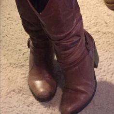 """🍁🌾Fall Sale🌾🍁 Matisse -""""Willy"""" cowgirl boot Beautiful Matisse - """"Willy"""" Cowgirl boot. These have been lovingly worn and have lots of life left in them!  Third picture shows wear on soles and a minor separation in stitching on outside of boot. Hero is about 2 1/2 - 3 inches high (st back of boot wedge is 3 at front of heel it is closer to 2). Shaft is about 13 1/2 inches. Slouchy style boot. Beautiful with jeans, dressy pants or a skirt. Love these! 💞 Matisse Shoes Heeled Boots"""