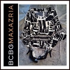 ✨TODAY ONLY✨ BCBGMaxAzria B&W Dress, size M Beautiful, fun, comfortable dress! Preloved but in great condition. 94% polyester, 6% spandex. Very sexy, flowy sleeves and at the bottom of the dress. Can be worn for many different occasions. PRICE IS FIRM BCBGMaxAzria Dresses