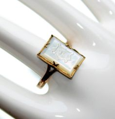 FREE SHIPPING Rolled Gold & Mother of Pearl Initial A Small Signet Ring…