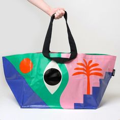 Throughout time the all-seeing eye has been a beacon of reassurance in a crazy world. Inspired by the vibrancy and imagination of modernist art, 'The Eye' brings colour and function wherever you go. Large Bags, Large Tote, Bag Women, Textiles, Tote Handbags, Tote Bags, Beautiful Bags, Gifts For Family, Bago