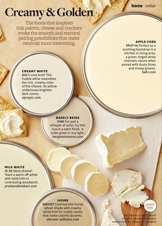 Smooth and textural pairings of cheese and crackers neutral tones! Neutral Paint Colors Used: Creamy White A10-1 by Olympic Apple Core PPU7-14 by behr Barley Beige 1066 by Benjamin Moore Milk White 15-32 by Pratt and Lambert Ivoire SW6127 by Sherwin Williams From Better Homes and Gardens - June 2014