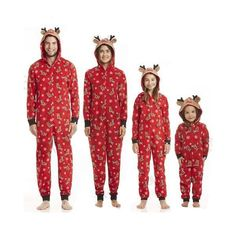 2442d004fd Christmas Elk Pattern Hooded Zip Costume Family Matching Pajamas Jumpsuit