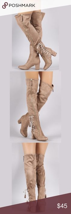 """Over the knee Taupe boots ! READY TO SHIP SAME OR NEXT BUSINESS DAY !                  These over the knee boots feature a slightly stretched vegan suede, rounded toe, blocked heel, and side corseting lace up design with tassel at the end. Finished with a cushioned insole, partial soft faux fur lining, and exposed zipper closure.  Material: Vegan Suede (man-made) Sole: Synthetic   Measurement Heel Height: 2.5"""" (approx) Shaft Length: 24"""" (including heel) Top Opening Circumference: 18""""…"""