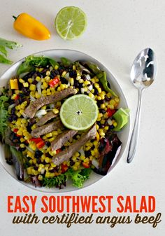 Easy Southwest Salad with Certified Angus Beef and Fresh Corn via @ellenblogs #BeefUpYourSalad #CertifiedAngusBeef @certifiedangusbeef