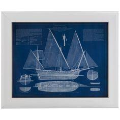 Bassett Mirror Pan Pacific Antique Ship Blueprint III Art