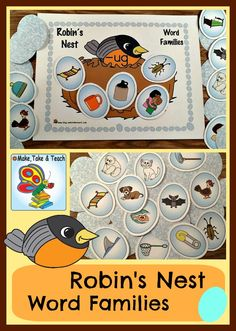 2 fun robin's nest activities for practicing word families and beginning sounds and a math FREEBIE!
