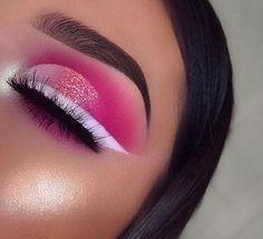 Dope Makeup, Pink Eye Makeup, Makeup Eye Looks, Colorful Eye Makeup, Eye Makeup Art, Eyeshadow Makeup, Pink Eyeliner, Bts Makeup, Pink Eyeshadow Look