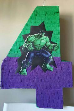 Number Pinata inspired by Hulk Hulk Birthday Parties, Fourth Birthday, Birthday Party Decorations, Boy Birthday, Party Themes, Hulk Birthday Cakes, Hulk Party, Avengers Birthday, Hulk Smash