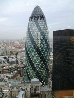 30 St Mary Axe, Swiss Re AKA the Gherkin building, London, Sir Norman Foster Architecture 101, British Architecture, Beautiful Architecture, Beautiful Buildings, Commercial Architecture, Norman Foster, Gherkin London, Swiss Re, 30 St Mary Axe