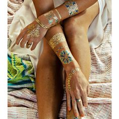 Metallic Beach Tattoos ($15) ❤ liked on Polyvore featuring accessories, body art and tattoos